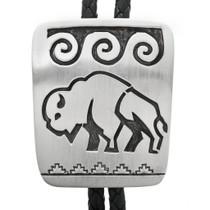 Navajo Overlay Silver Buffalo Bolo Tie 32415