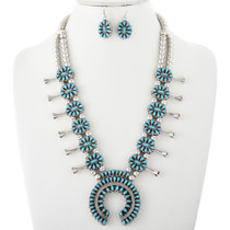 Vintage Turquoise Coral Reversible Squash Blossom Necklace 32426