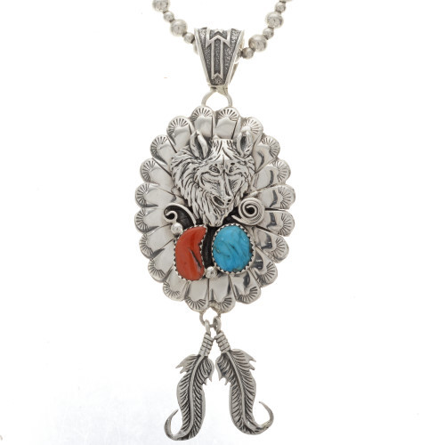 Navajo silver wolf pendant 25187 navajo silver wolf pendant necklace with feathers turquoise coral aloadofball Choice Image