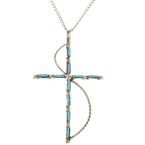 Old pawn style turquoise cross pendant 28832 old pawn style turquoise cross pendant with silver chain aloadofball Images