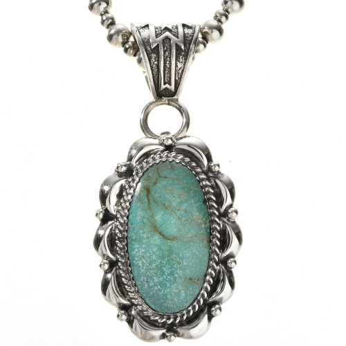 Green turquoise navajo silver pendant 28959 green turquoise navajo silver pendant with bead necklace mozeypictures Image collections