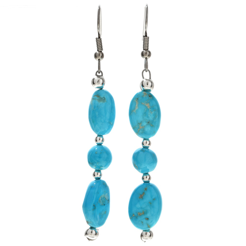 Natural Kingman Turquoise Silver Earrings Navajo French Hook Dangles