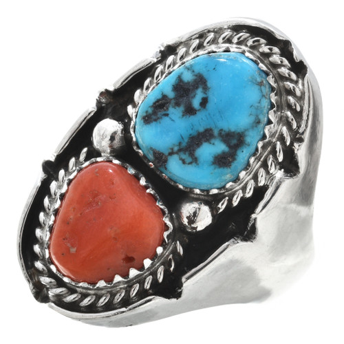 Genuine Turquoise Coral Silver Mens Ring 30188