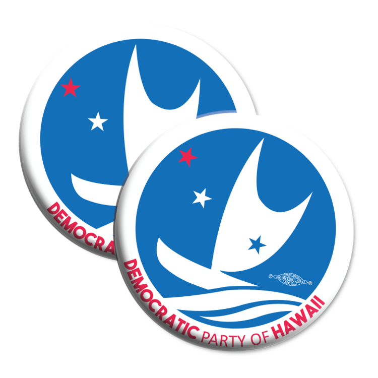 """Democratic Party of Hawaii - Circular Logo (2.25"""" Mylar Button -- Pack Of Two!)"""