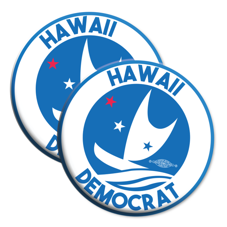 """Hawaii Democrats - Circular Graphic (2.25"""" Mylar Button -- Pack Of Two!)"""