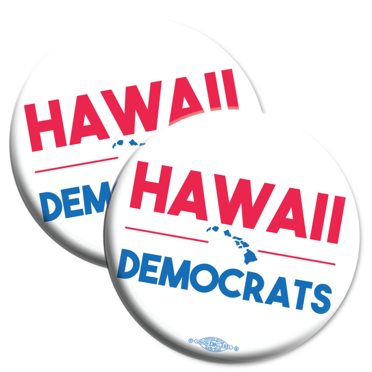 """Hawaii Democrats Islands (2.25"""" Mylar Button -- Pack Of Two!)"""
