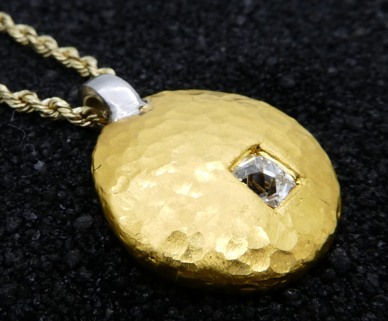 Custom 24kt Hammer Forged Pendant with Platinum Bail and .14 ct Rectangular Old Mine Cut Diamond