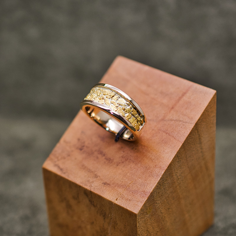 14K Yellow Gold Large Tapered Band with Local Natural  Placer Gold Inlay