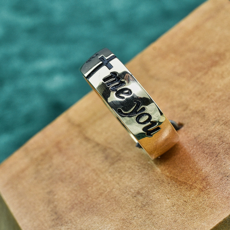 """14k Yellow Gold Womens Antiqued Band, Deeply Embossed with """"God gave me you"""" and Cross"""
