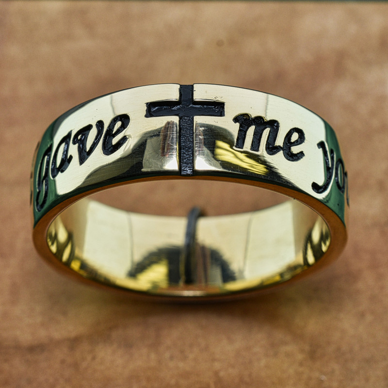 """14k Yellow Gold Mens Antiqued Band, Deeply Embossed with """"God gave me you"""" and Cross"""