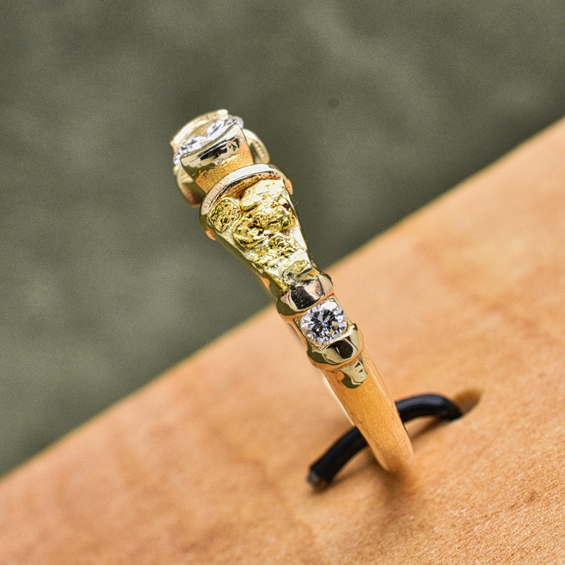 14K Yellow Gold and Natural Local Gold Nuggets Tapered Band with .40 CTW