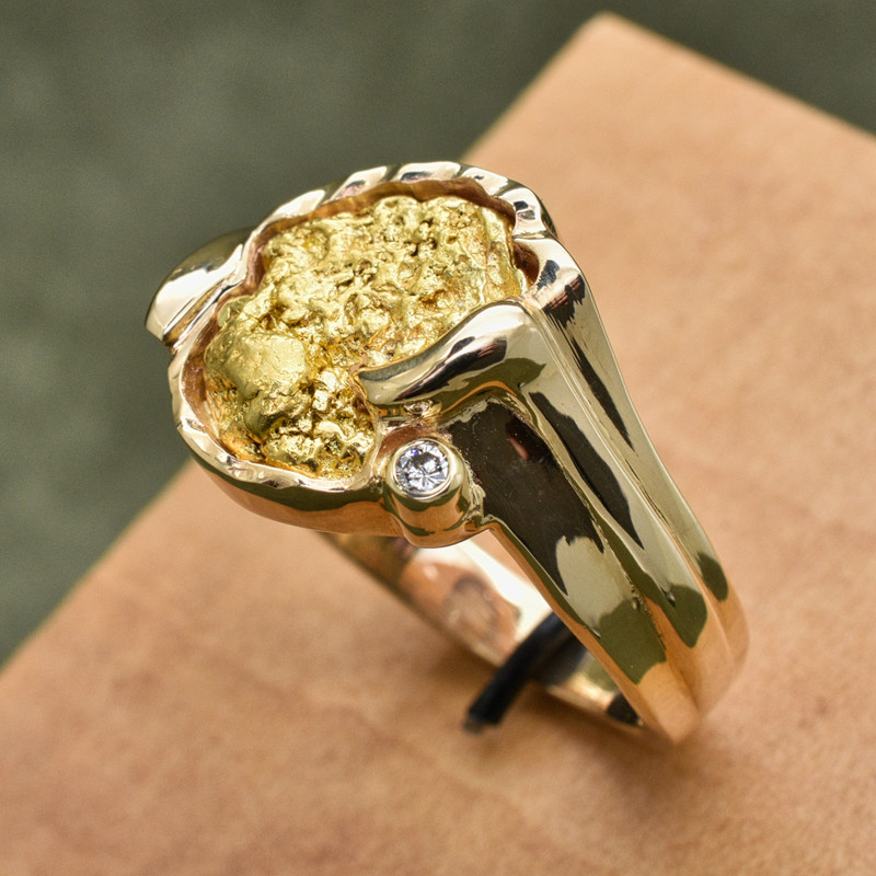 14K Yellow Large Freeform Bezel Ring with Natural Nugget and .05 CT Diamond