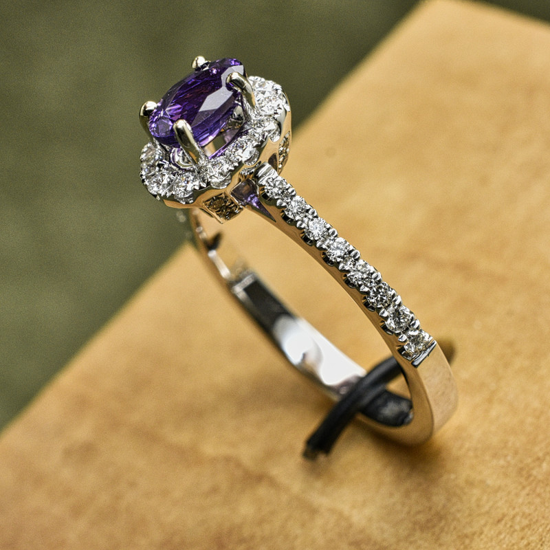 14K White Gold, .50ct Diamond Halo Ring with .70ct Natural Purple Sapphire