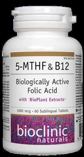Bioclinic Naturals 5-MTHF & B12 60 Sublingual Tablets