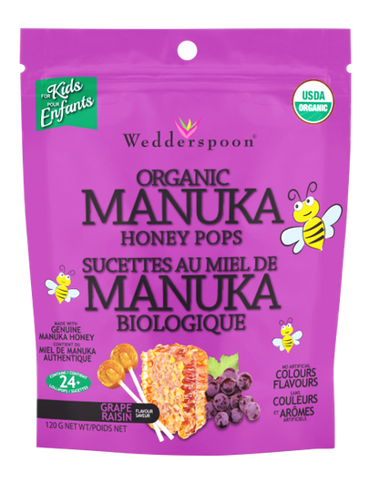 Wedderspoon Organic Manuka Honey Pops Grape 120 g