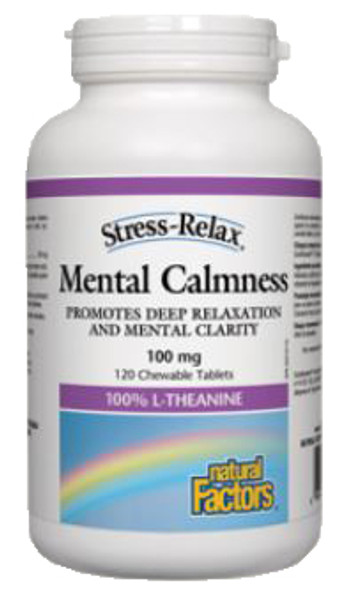 Natural Factors Stress-Relax Mental Calmness 100 mg 120 Chewable Tablets