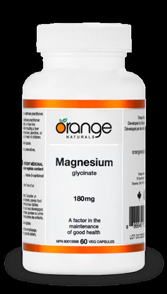 Orange Naturals Magnesium Glycinate 180 mg 60 Veg Capsules