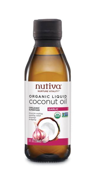 Nutiva Organic Liquid Coconut Oil Garlic 236 ml