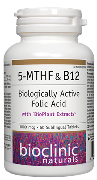 Bioclinic Naturals 5-MTHF & B12 60 Sublingual Tablets