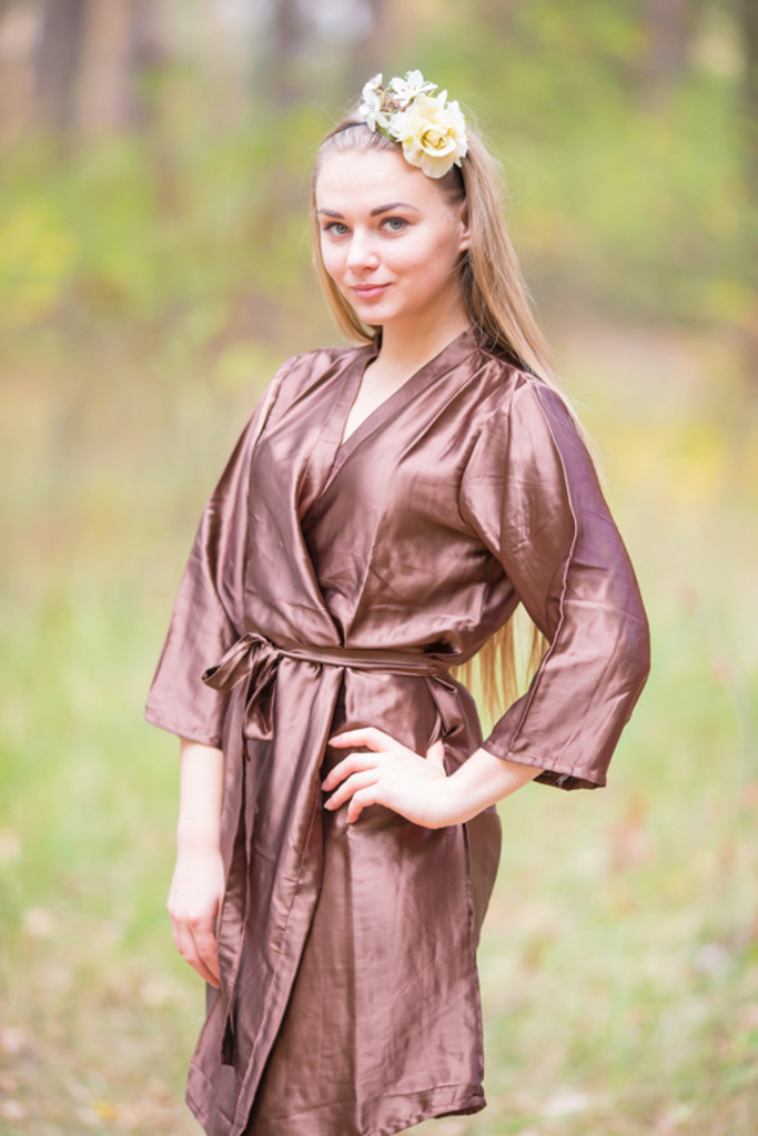 Plain Silk Robes for bridesmaids - Solid Brown Color   Getting Ready Bridal Robes