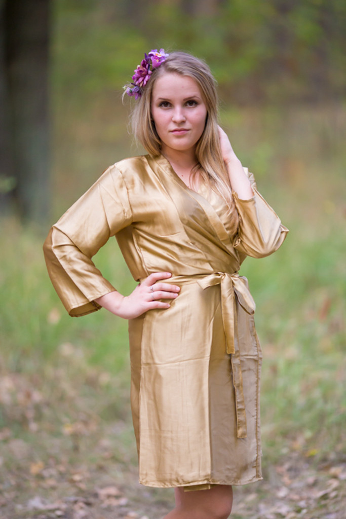 Plain Silk Robes for bridesmaids - Solid Gold Color | Getting Ready Bridal Robes