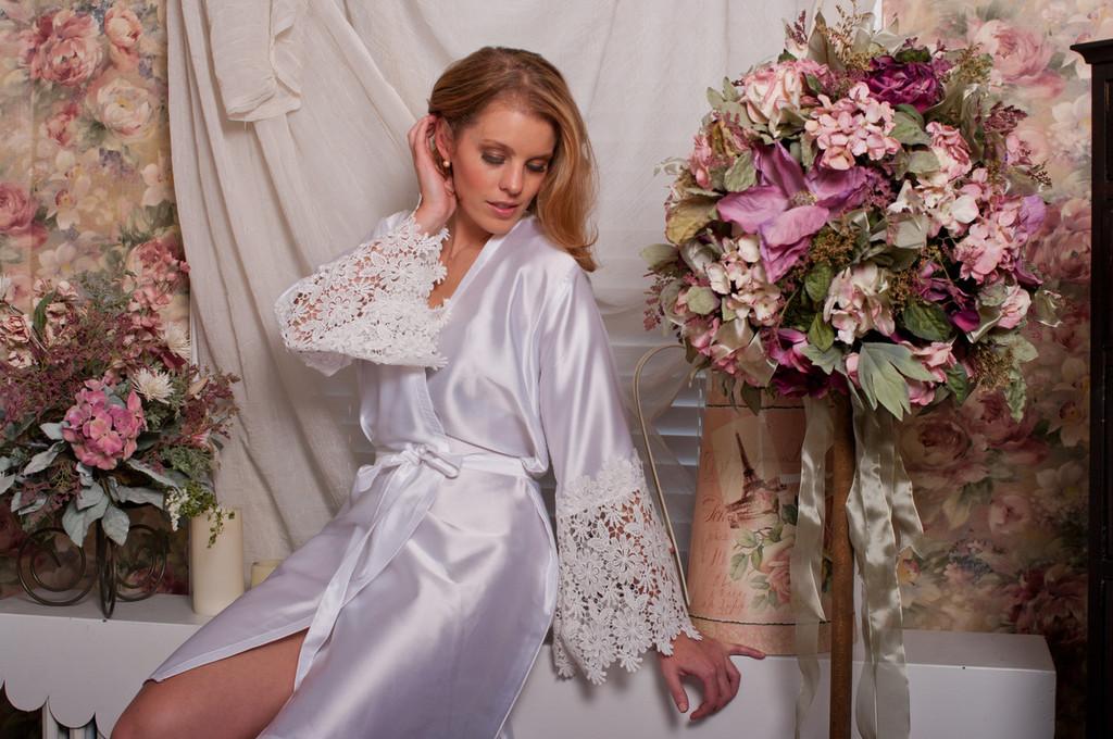 White Silk Floral Lace Cuffs Bridal Robe