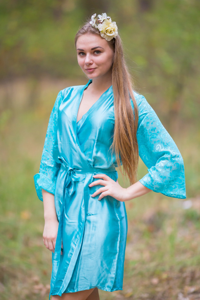 Blue Luxurious Silk Robe with Silk Chiffon Devore Sleeves
