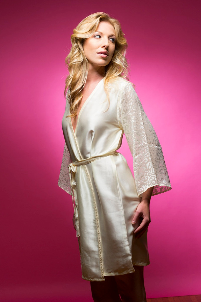Ivory Luxurious Silk Robe with Silk Chiffon Devore Sleeves