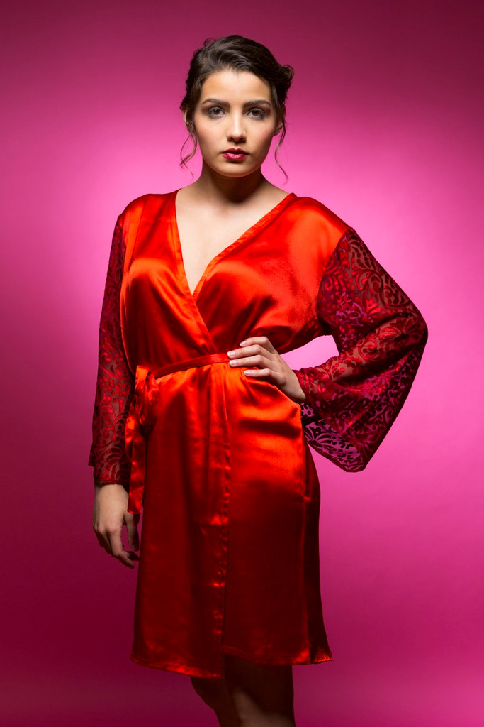 Ruby Red Luxurious Silk Robe with Silk Chiffon Devore Sleeves