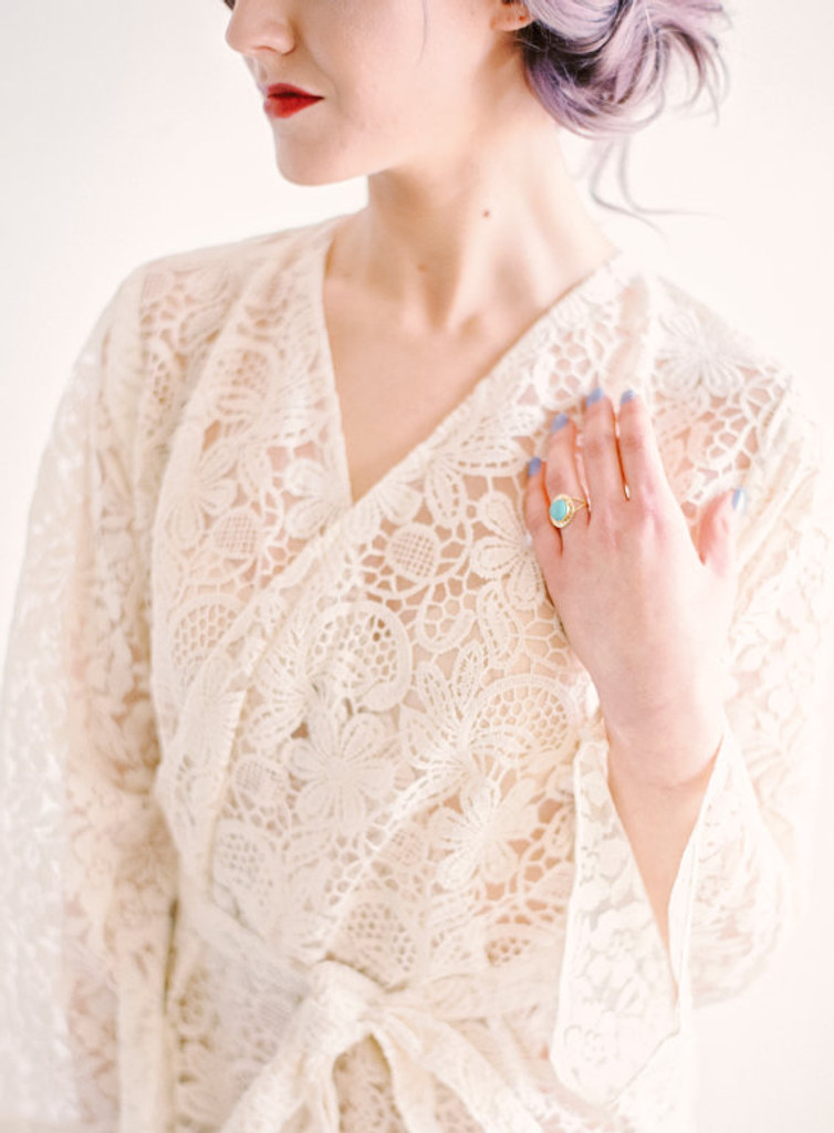Ivory Bridal Floral Lace Robe