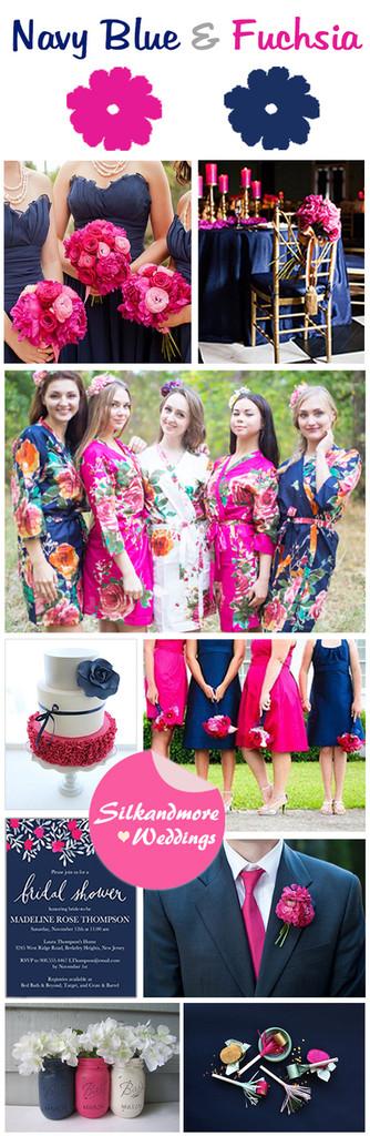 Navy Blue and Magenta Wedding Color Inspirtations