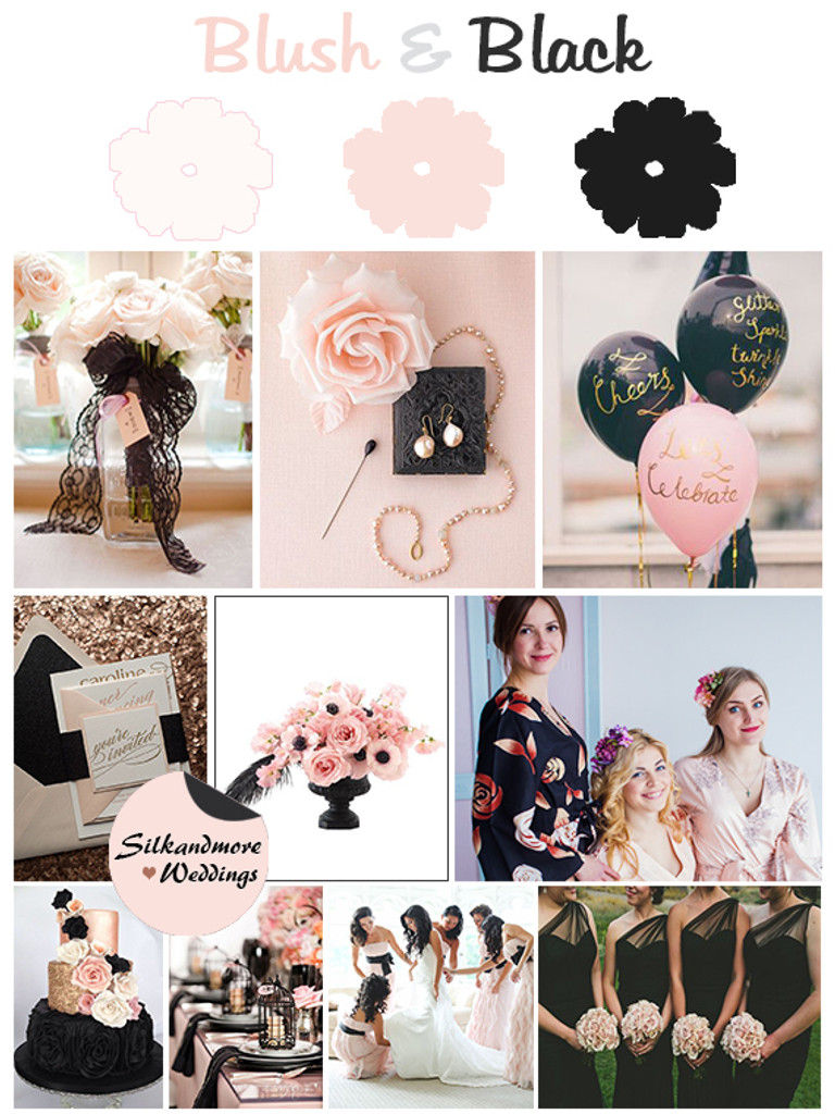 Black and Blush Wedding Colors Palette - Robes by silkandmore