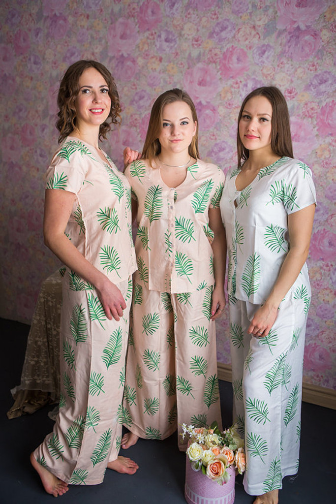 U-shaped neckline Style long PJs in Tropical Delight Palm Leaves Pattern