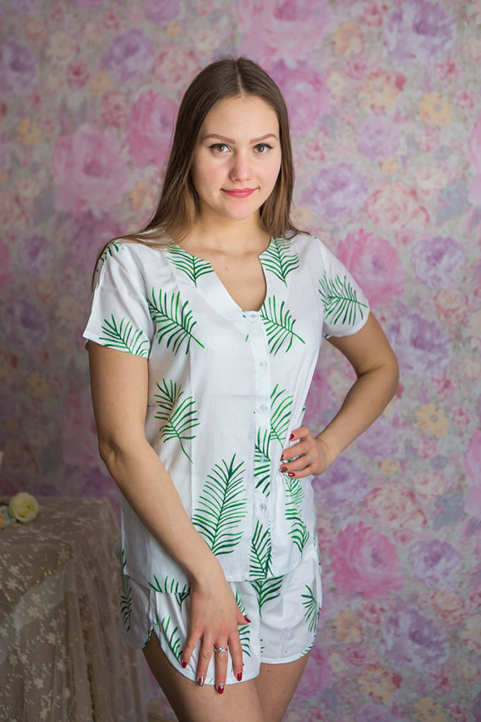 U-shaped neckline Style PJs in Tropical Delight Palm Leaves Pattern