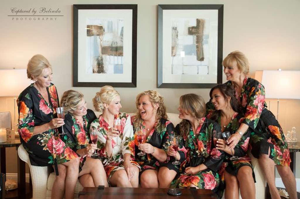 Black Large Floral Blossom Robes for bridesmaids | Getting Ready Bridal Robes