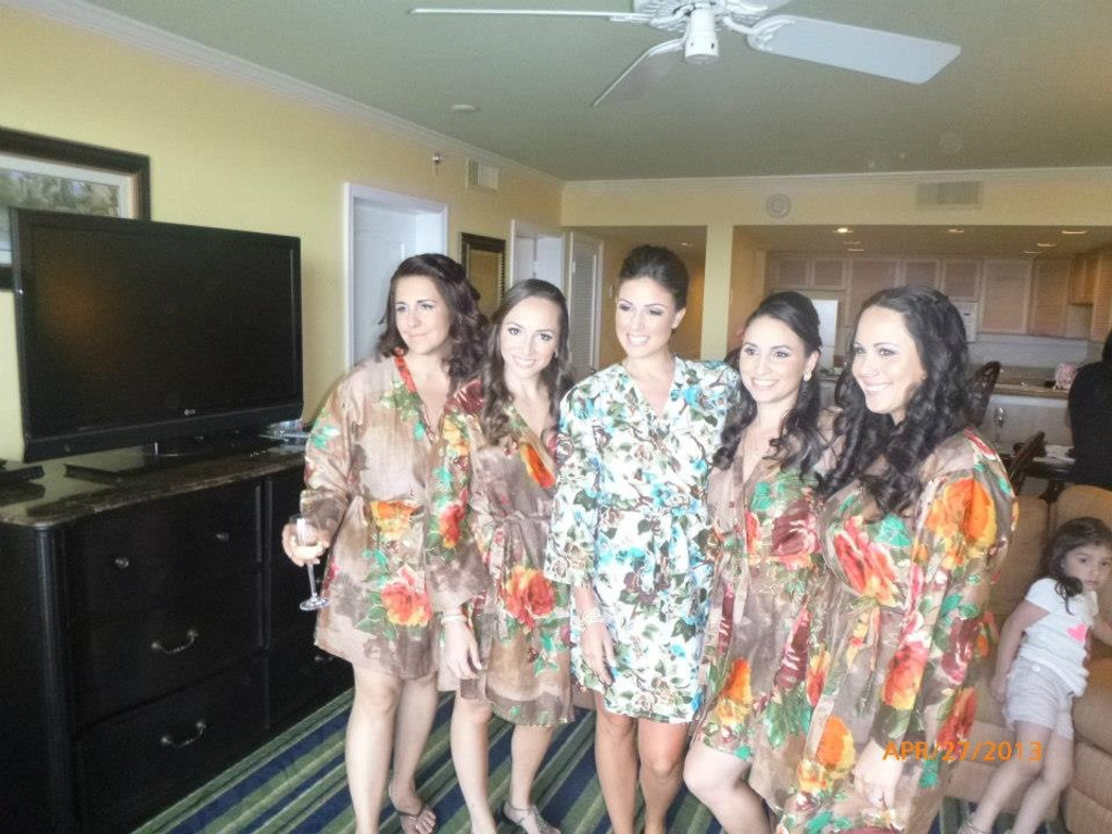 Brown Large Floral Blossom Robes for bridesmaids | Getting Ready Bridal Robes
