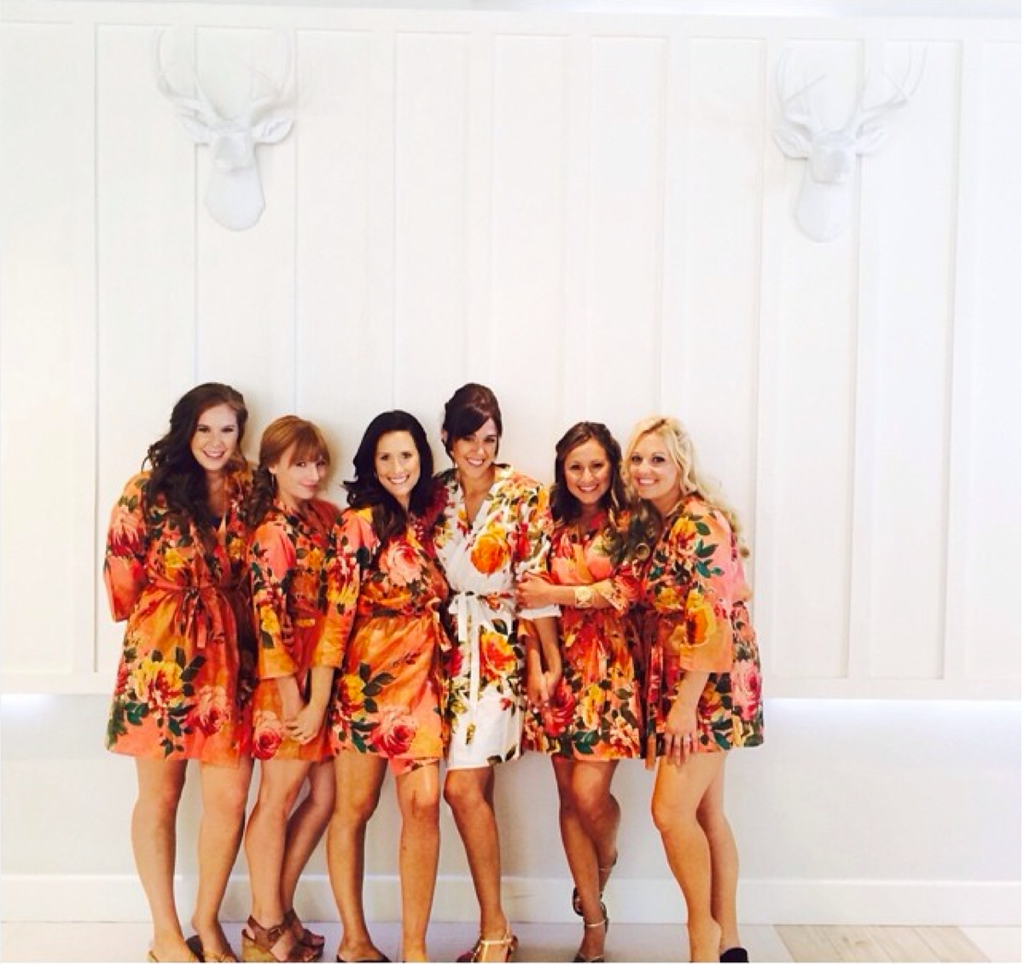 Coral Large Floral Blossom Robes for bridesmaids | Getting Ready Bridal Robes