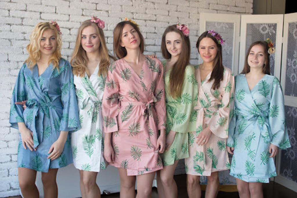 Tropical Delight Pattern- Premium Mint Bridesmaids Robes