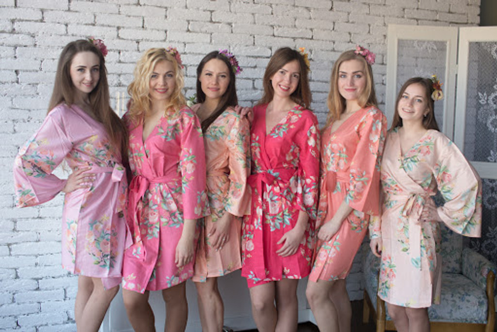 Dreamy Angel Song Pattern- Premium Copper Bridesmaids Robes