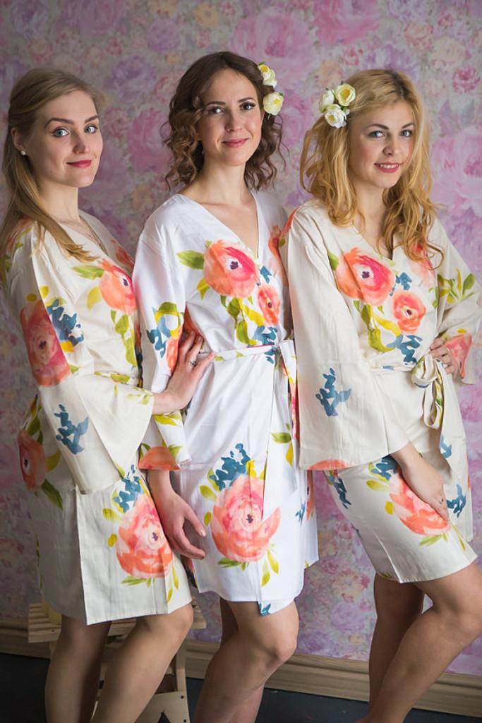 Smiling Blooms Pattern- Premium Ivory Bridesmaids Robes