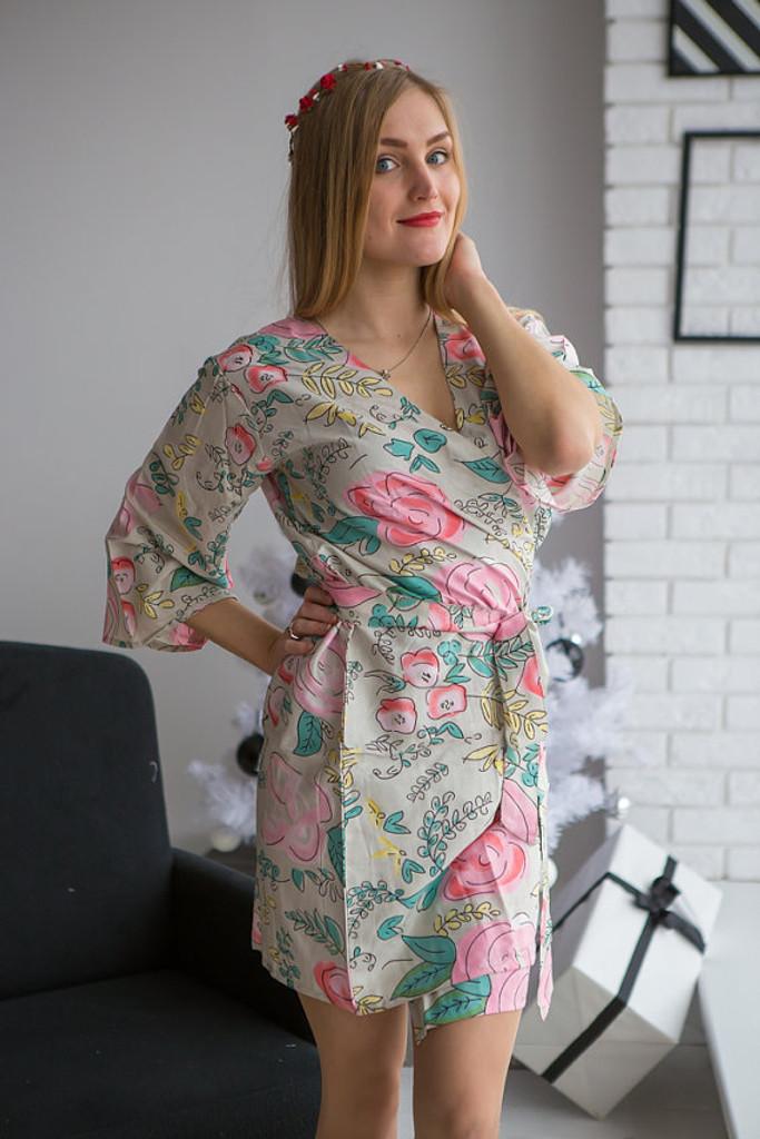 Whimsical Giggle Pattern- Premium Soft Sage Bridesmaids Robes