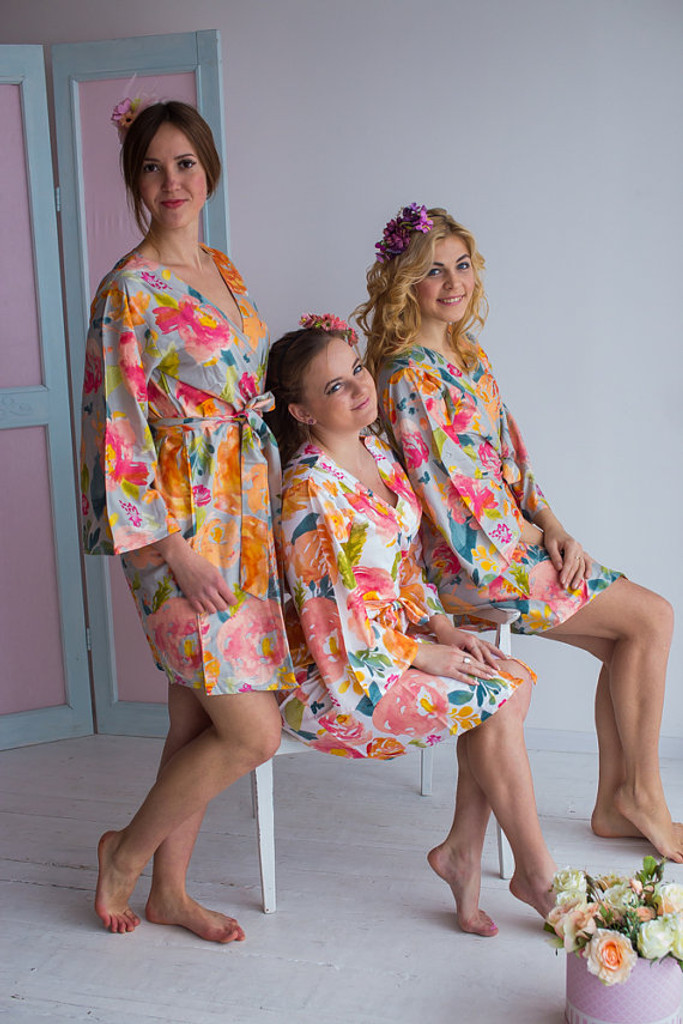 Her Petal Garden Pattern- Premium Silver Bridesmaids Robes