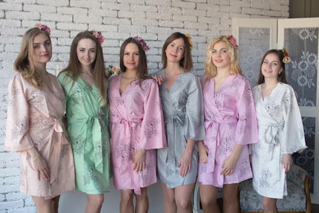 Premium Scalloped Trim Bridesmaids Robes mismatched Floral Sketch