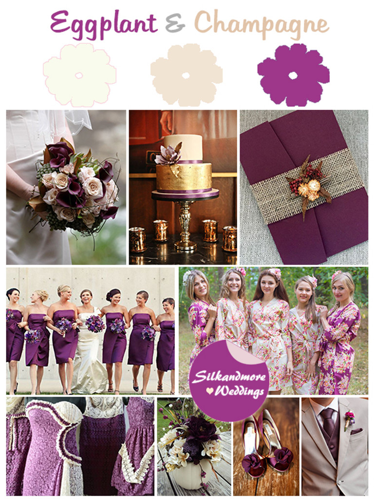 Eggplant and Champagne Wedding Colors Palette - Robes by silkandmore
