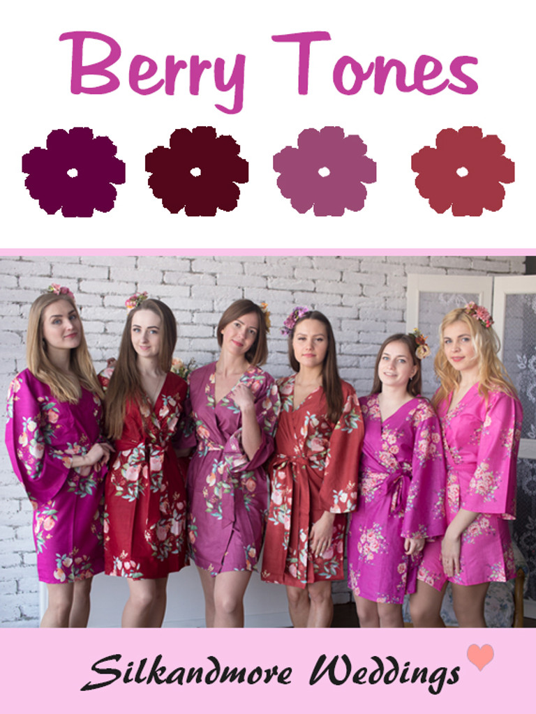 Berry Toned Wedding Color Robes