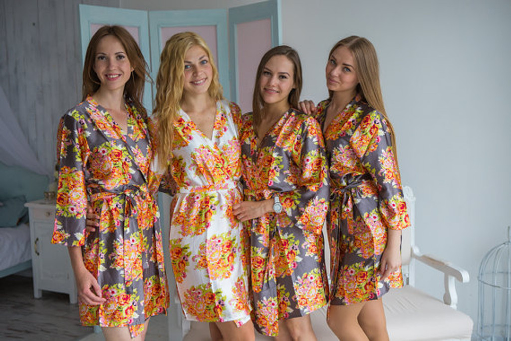 Charcoal Gray Floral Posy Silk Bridesmaids robes