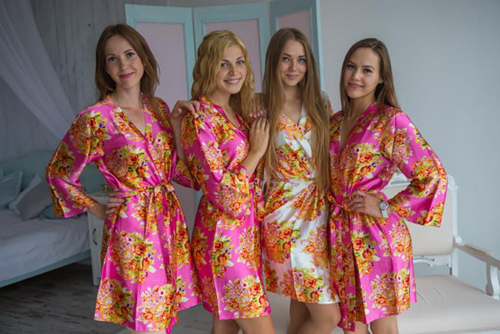 Hot Pink Silk Floral Posy Bridesmaids robes