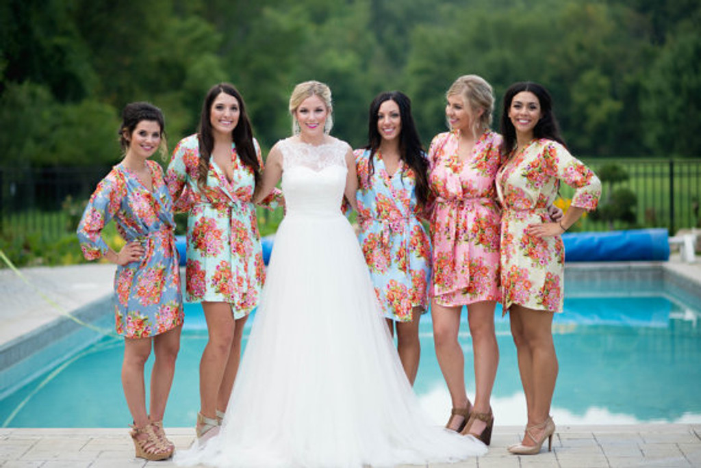 Pastel Floral Silk Bridesmaids Robes