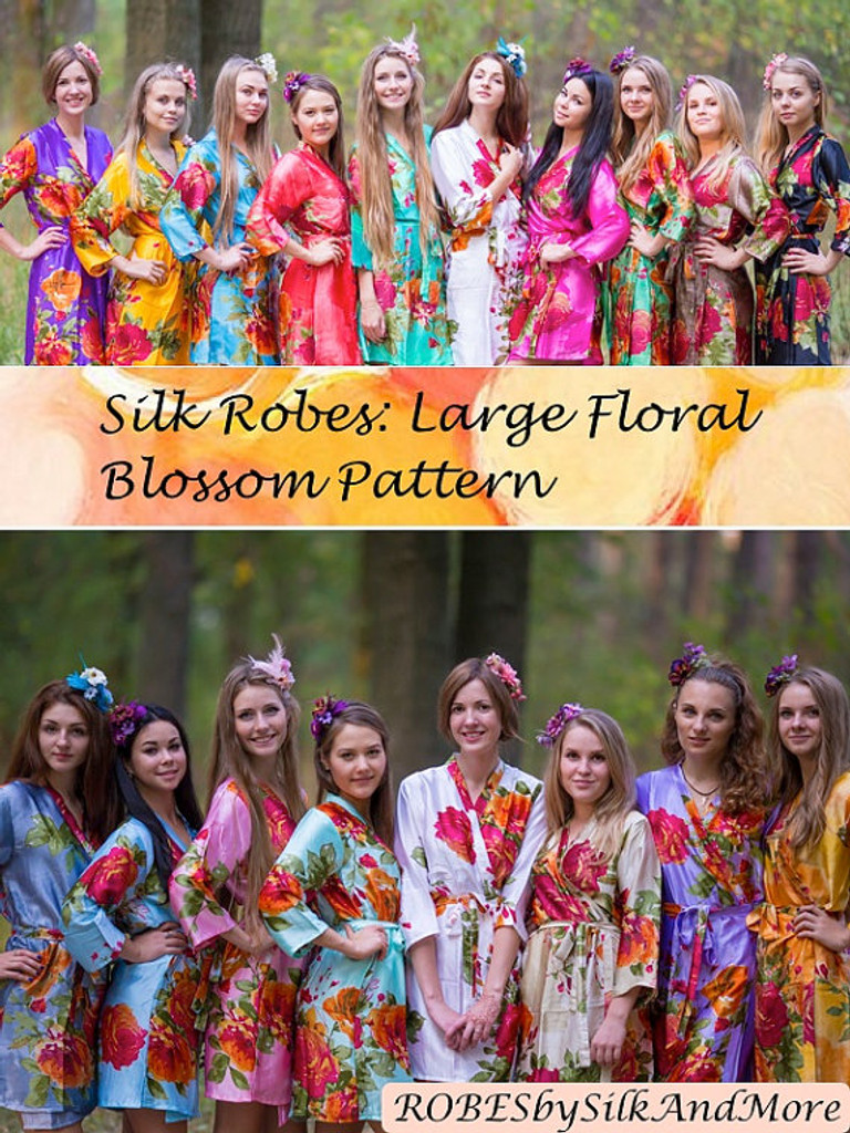 Bright Large Floral Blossom Silk Bridesmaids robes