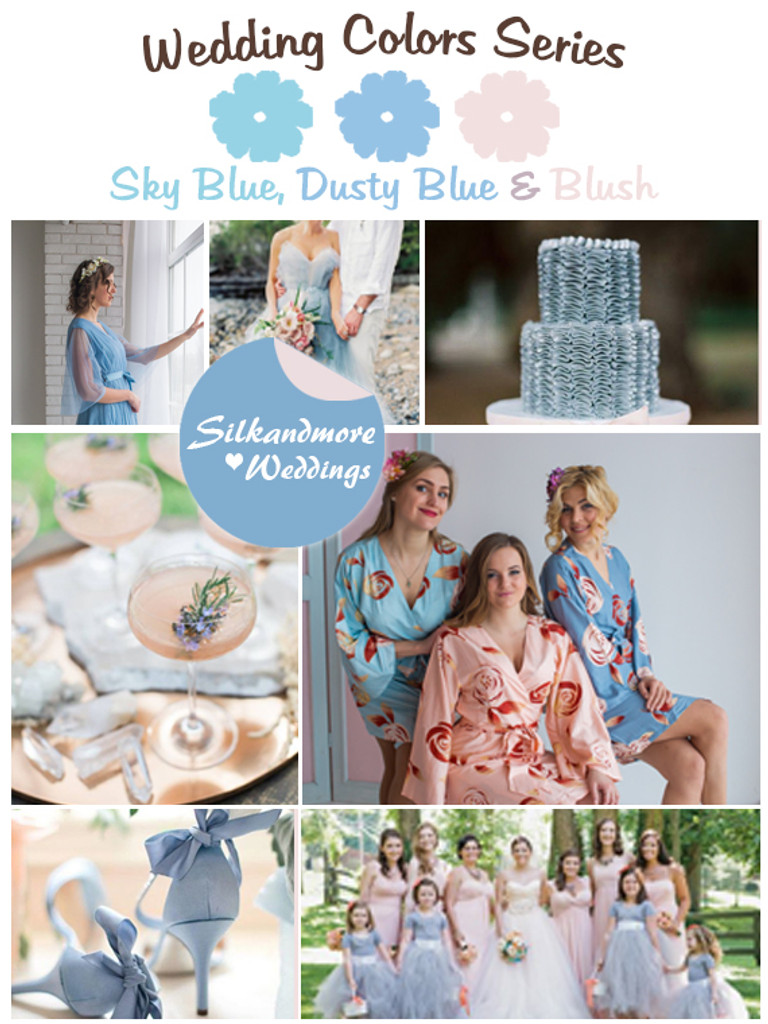 Sky Blue, Dusty Blue and Blush Wedding Colors Palette - Robes by ...